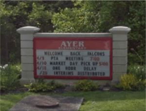 Ayer School Sign Before